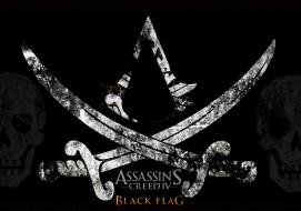 видео игры, assassin`s creed iv,  black flag, фон, череп, сабля