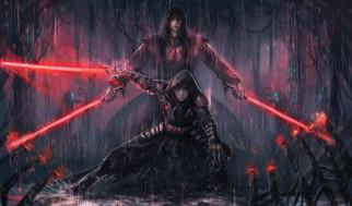 парень, арт, девушка, star wars, световой меч, дождь