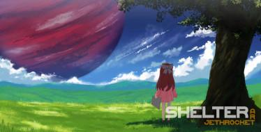 аниме, shelter, взгляд, фон, девушка