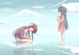 аниме, shelter, фон, взгляд, девушки
