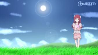 аниме, shelter, фон, взгляд, девушка