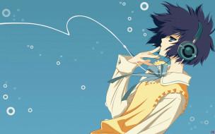 аниме, parasol, девушка, взгляд, фон