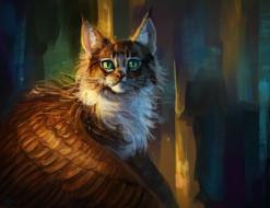 рисованное, животные,  сказочные,  мифические, крылатая, кошка, фэнтези