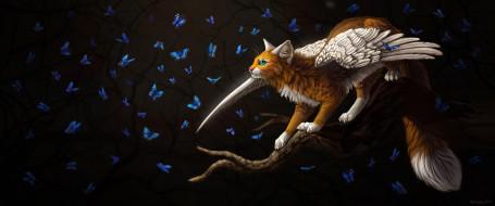 рисованное, животные,  сказочные,  мифические, бабочки, фэнтези, by, cat-patrisiya, крылатая, кошка