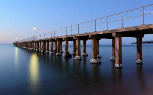 обои для рабочего стола 1920x1200 города, - мосты, море, ночь, мост, пирс