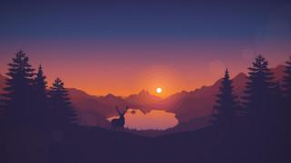 векторная графика, животные , animals, лес, озеро, закат, олень