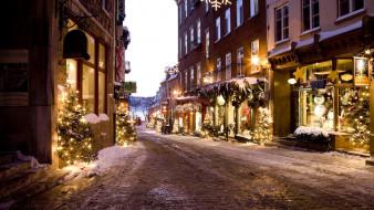 праздничные, новогодние пейзажи, улица, снег, елки