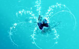 векторная графика, животные , animals, синяя, линии, блеск, бабочка