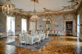 интерьер, дворцы,  музеи, столовая, люстры, канделябры, сервировка