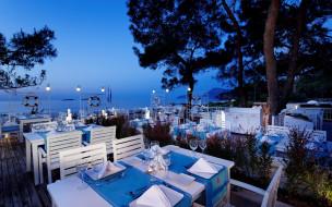 интерьер, кафе,  рестораны,  отели, море, терраса, столики, сервировка