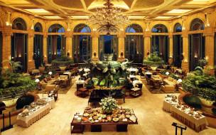 обои для рабочего стола 1920x1200 интерьер, кафе,  рестораны,  отели, фонтан, люстры, сервировка