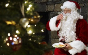 праздничные, дед мороз,  санта клаус, молоко, санта, камин, печенье