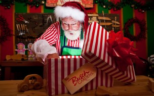 праздничные, дед мороз,  санта клаус, санта, бант, подарок, коробка