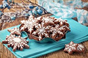 праздничные, угощения, печенье, снежинки