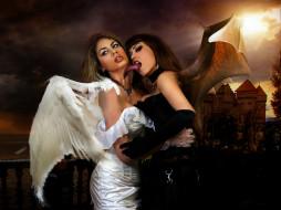 фэнтези, фотоарт, ангел, крылья, фон, девушки, взгляд, демон