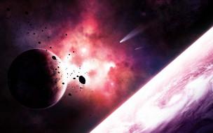 космос, арт, галактика, вселенная, звезды, планеты