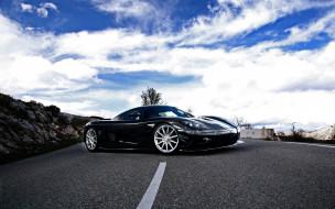 автомобили, koenigsegg, небо, шоссе, дорога, облака, темный, ccxr