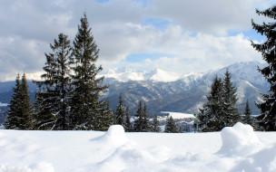 природа, зима, сугробы, снег, горы