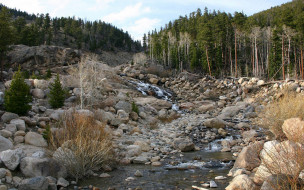 природа, реки, озера, лес, камни, поток