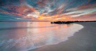 природа, побережье, пляж, море, закат