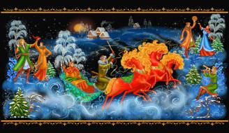 рисованное, живопись, зима, лошади, тройка, люди, гуляния