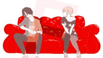 идеальный инсайдер ,  subete ga f ni naru,  the perfect insider, аниме, subete ga f ni naru, девушка, взгляд, фон, парень