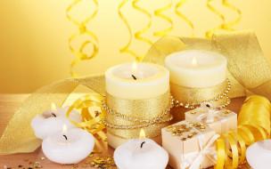 свечи, украшения, лента, декор, праздник, подарки, золотой, новый год