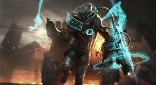 фэнтези, роботы,  киборги,  механизмы, взрыв, фантастика, разведчик, шлем, броня, костюм