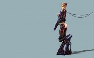 фэнтези, роботы,  киборги,  механизмы, существо, взгляд, фон, девушка