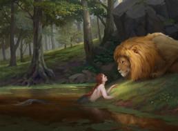 фэнтези, красавицы и чудовища, фантастика, лев, природа, русалка