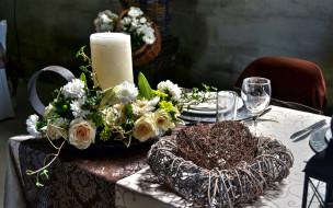интерьер, декор,  отделка,  сервировка, приборы, цветы, свеча