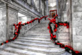 интерьер, холлы,  лестницы,  корридоры, праздник, гирлянды, мраморная, лестница