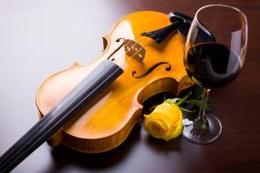 музыка, -музыкальные инструменты, вино, бокал, бутон, роза, скрипка
