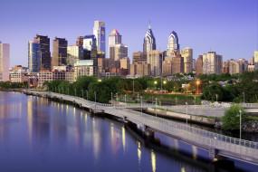 города, - панорамы, филадельфия, дома, небоскребы, мост, сша, утро