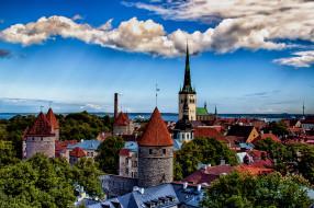 города, таллин , эстония, панорама, дома, деревья, пейзаж, башня, таллинн, море