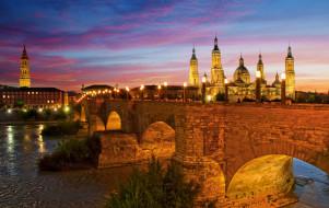 города, - мосты, базилика-де-нуэстра-сеньора-дель-пилар, испания, каменный, мост, львиный, река, эбро, огни, ночь, сарагоса, небо