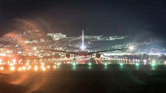 обои для рабочего стола 1920x1080 авиация, авиационный пейзаж, креатив, самолет, ночь, огни