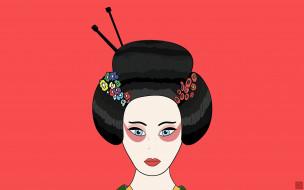 лицо, гейша, японка