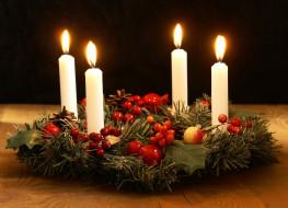 венок, свечи, огоньки