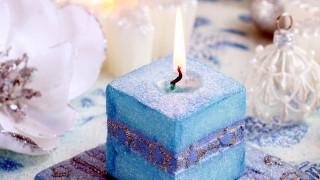 голубая, свеча, огонек