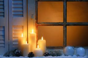 огоньки, шишки, свечи, окно, шарики
