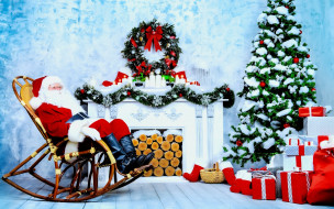 праздничные, дед мороз,  санта клаус, камин, дед, мороз