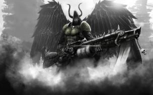 обои для рабочего стола 2880x1800 фэнтези, демоны, рога, демон, дым, крылья, оружие