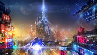 обои для рабочего стола 2000x1125 фэнтези, иные миры,  иные времена, будущее, мегаполис, фон