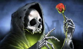 обои для рабочего стола 1920x1135 фэнтези, нежить, цветок, свет, балахон, смерть, роза