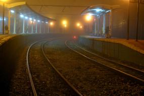 разное, транспортные средства и магистрали, железная, дорога, станция, ночь, город
