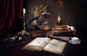 обои для рабочего стола 2600x1668 разное, канцелярия,  книги, свеча, очки, книги, курительная, трубка, ракушка