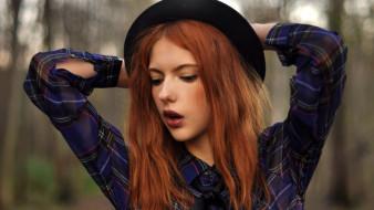 девушки, ebba zingmark, рубашка, шляпа, модель, рыжая