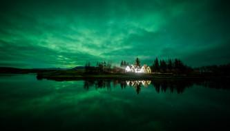 обои для рабочего стола 1920x1097 города, - здания,  дома, дома, исландия, вечер, остров, облака, небо, озеро, коттеджи