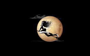 рисованное, минимализм, ведьма, луна, ночь